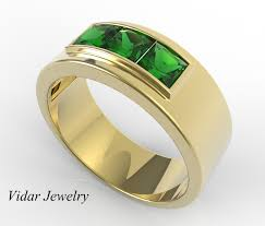 mens gold wedding band mens wedding band unique yellow gold ring with emerald by