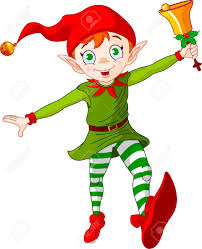 christmas elf jumping and ringing in a bell royalty free cliparts