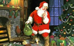 santa enters house through chimney placing secret gifts and giving