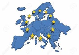 Map Of The Europe by Map Of The Europe With Blue Color And Yellow Stars Symbol For