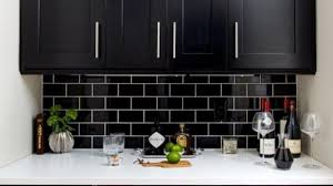 black backsplash in kitchen black and silver metal glass mosaic sheets tile