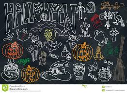 free halloween icon halloween icons set with text doodles sketchy chalkboard stock