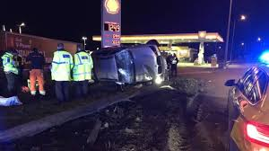 arrests after buckden car crash at shell garage bbc news