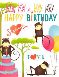 monkey fun happy birthday card with lettering congratulating