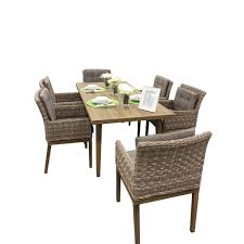 Rattan Dining Room Furniture by Ancona Torcello Collection 7 Piece Aluminum Rattan Dining Set