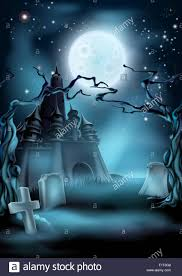 halloween scary castle graveyard background with a spooky haunted