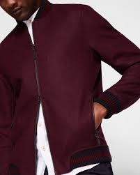 Wool Bomber Jacket Mens Wool Bomber Jacket Red Jackets And Coats Ted Baker Uk