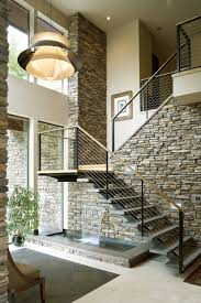 architecture cable railing with open staircase and open tread