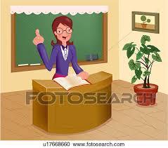 bureau enseignant banque d illustrations eduquer enseignant à bureau