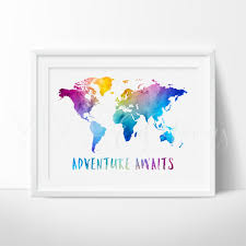 Adventure Awaits Travel Quote World Map Watercolor Art Print