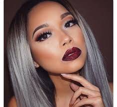 dyed hair dyed tips gray hair grey hair makeup ombre image