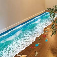 home decor 3d stickers romantic sea beach floor sticker 3d simulation beach home decor