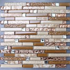 Gold Items Crystal Glass Mosaic Tile Wall Backsplashes by Interlocking Glass Tile Brown Rose Gold Diamond Design Kitchen