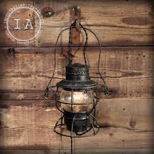 Lantern Wall Sconce Vintage Industrial Pair Railroad Lantern Wall Sconces Dietz Adlake