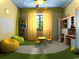 small kids bedroom organization green stripped wall color stork