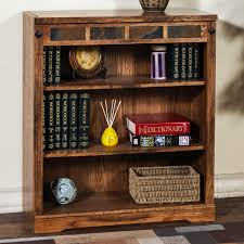 distressed oak 3 shelf bookcase with slate by sunny designs wolf