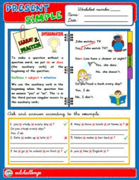 present simple study worksheet exercises interrogative