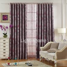 Plum Blackout Curtains Cotton And Polyester Elegant Floral Purple Blackout Curtains