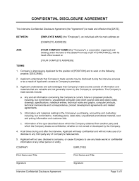 interview confidential disclosure agreement template u0026 sample