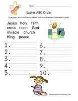easter worksheet u2013 alphabetical order read the words below and