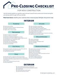 house checklist building a house grab this free printable pre closing checklist