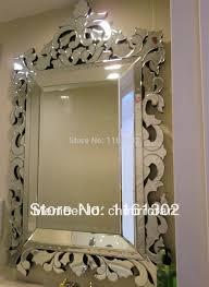 Cheap Bathroom Mirror by Venetian Mirrors Small Rose Rectangle 31 X 19 Collosal Antique