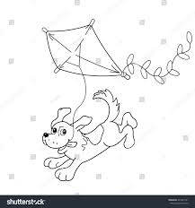 coloring outline cartoon dog kite stock vector 443227501