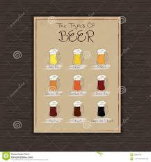 vector illustration of hand drawn mugs of different types of beer