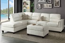 Modern White Bonded Leather Sectional Sofa Living Room T35 White Bonded Leather Sectional Sofa