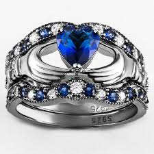 claddagh engagement ring blue diamond claddagh engagement ring set evermarker