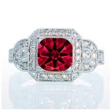 ruby engagement rings 1 5 carat vintage princess cut ruby and diamond designer halo