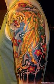 awesome colored tiger on left half sleeve viewer com