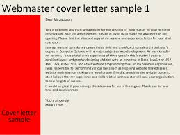 cover letter sample for job opening webmaster cover letter