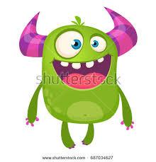 cartoon green monster nerd wearing glasses stock vector 687050992