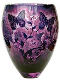 Amethyst Glass Vase Butterfly Foliage Amethyst Glass Vase