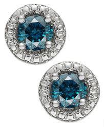 blue diamond stud earrings sterling silver blue diamond halo stud earrings 3 4 ct t w