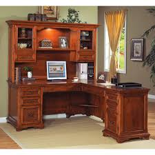 L Shaped Desk With Hutch Home Office Real Wood Home Office