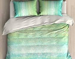 Mint Green Duvet Set Horse Duvet Cover Horse Comforter Black Turquoise Teal