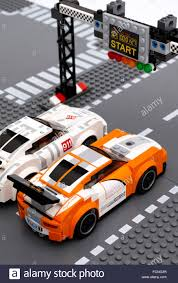 porsche 911 race car tambov russian federation june 27 2015 two lego porsche 911 gt
