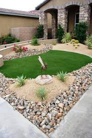 garden with border and low maintenance plants easy for gardening
