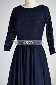 modest long sleeves navy blue lace chiffon long wedding mother dress