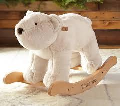 polar bear faux fur plush rocker pottery barn kids