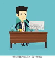 employé de bureau employé bureau bâiller fatigué plat café carrée vecteurs