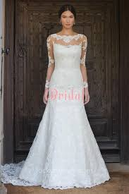wedding dress lace back and sleeves beautiful illusion lace back sleeve fit and flare feminine