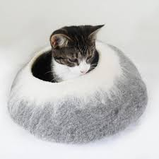 two tone felt cat cave bed and ball by lovecatcaves