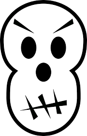 black and white angry skull free halloween vector clipart