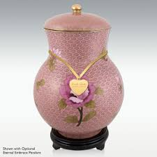 dusty rose cloisonne cremation urn wood base perfect memorials
