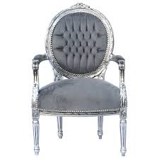 baroque style dining room chair armrest silver wood frame grey baroque style dining room chair armrest silver wood frame grey velvet cushions