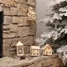 mini led wood house tree decorations ornaments