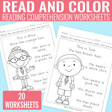 reading comprehension grade read and color reading comprehension worksheets for grade 1 and